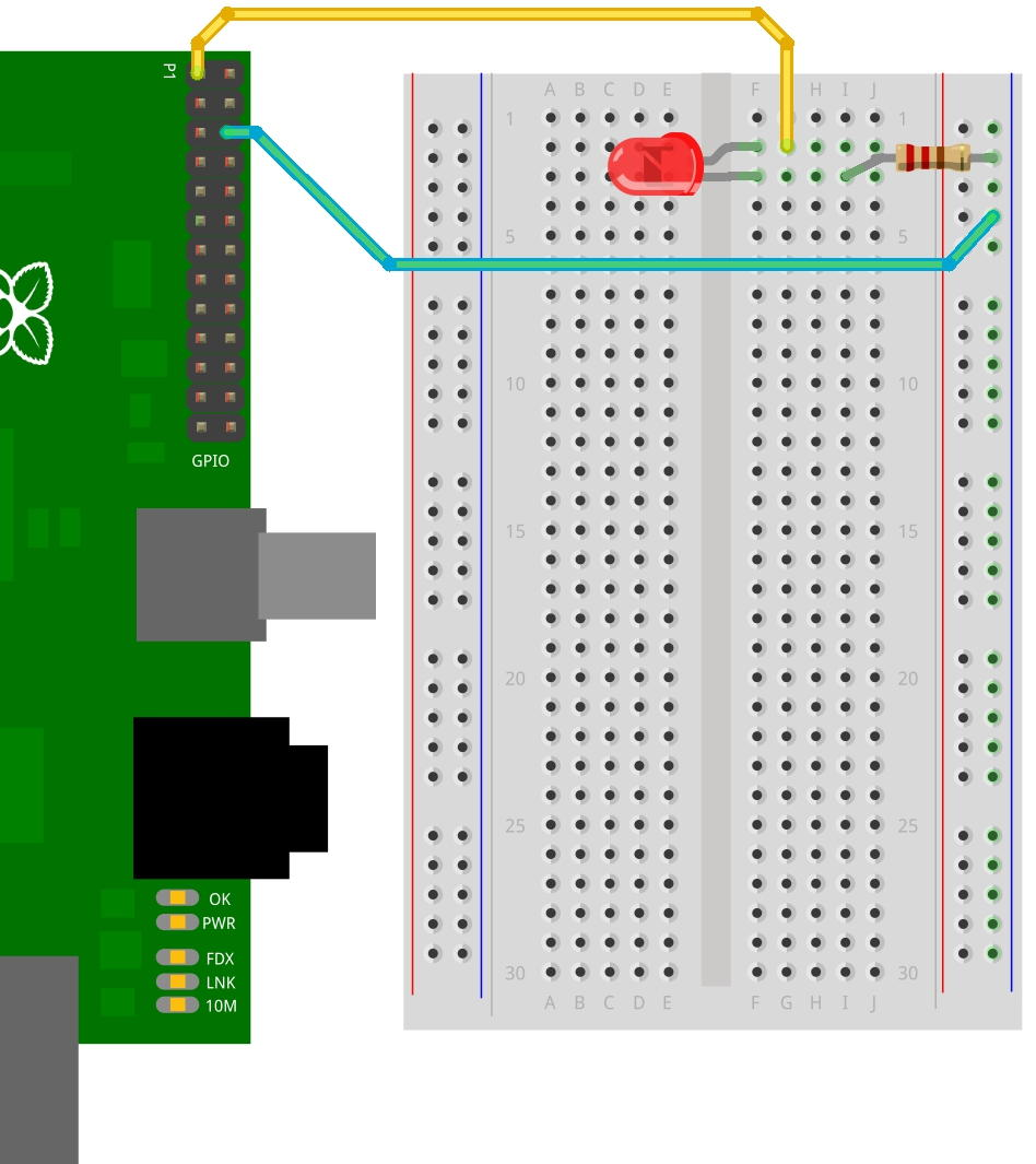 1 A Single Led Gordons Projects Raspberry Pi B Circuit Diagram One On The 33v Supply