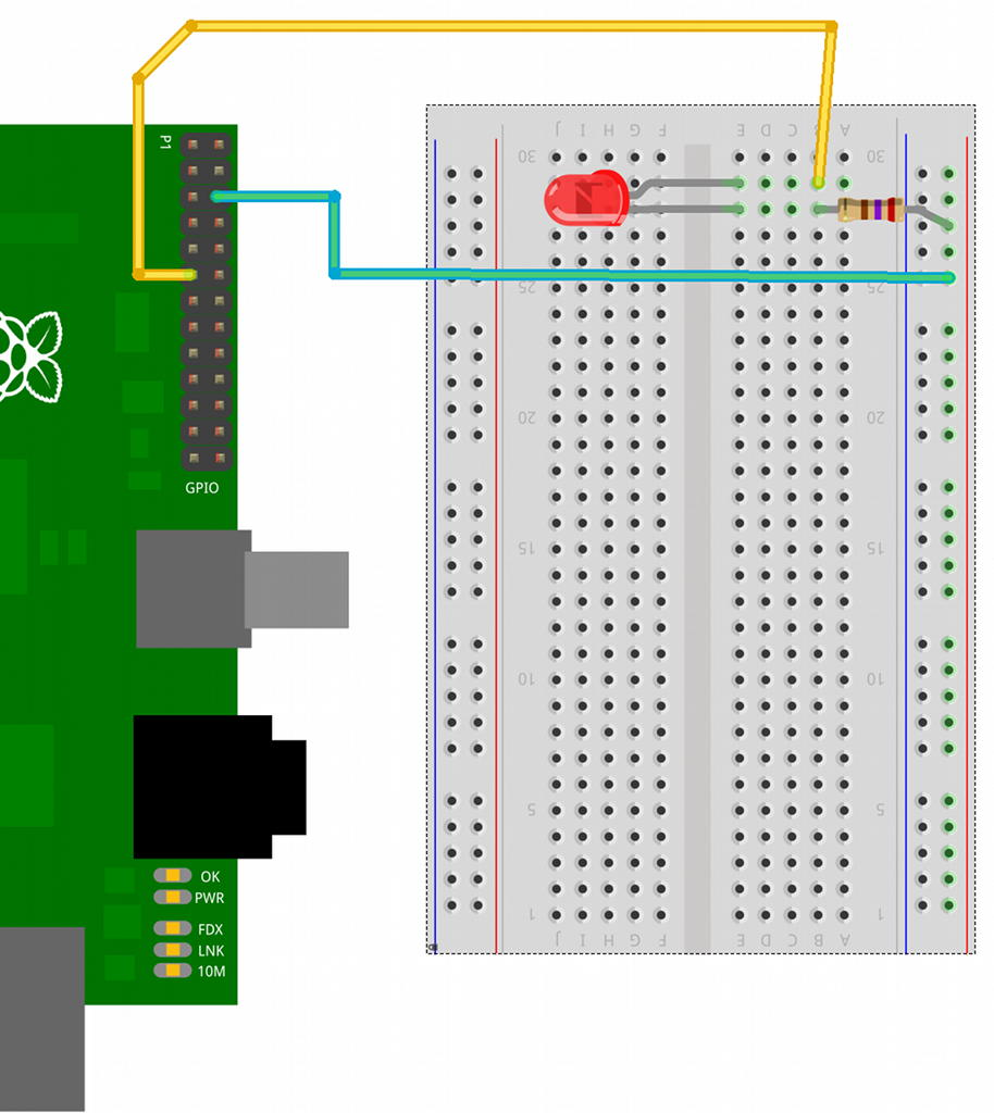 Rasberry Pi Gpio Examples 1 A Single Led Gordons Projects Breadboard Circuit Detail Layout For Controlled Do Check Against The Wiring Diagram