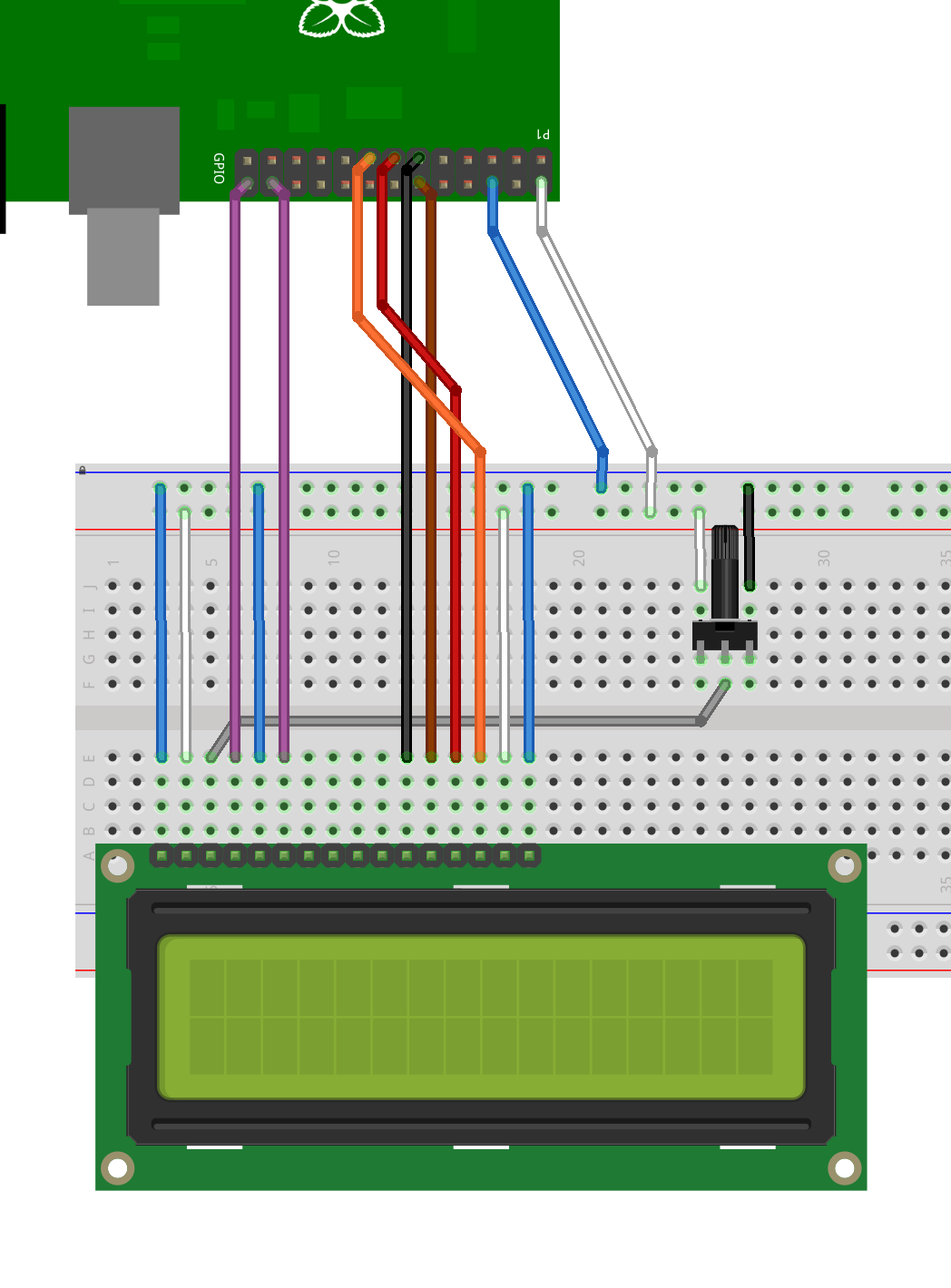 Lcd Library Gordons Projects Hitachi Mini Starter Wiring Diagram Connected To Pi In 4 Bit Mode