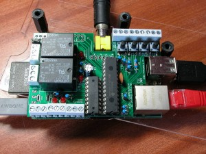 Top View of the PiFace fitted to a Raspberry Pi