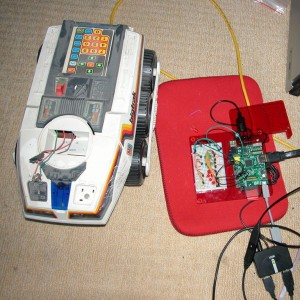 My Big Trak next to a Raspberry Pi