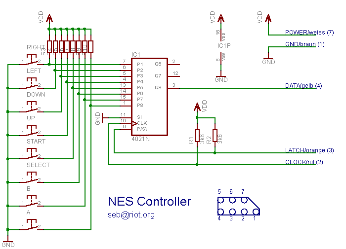 nes controller schematic nes controller on the raspberry pi gordons projects super nintendo controller wiring diagram at crackthecode.co