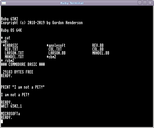 Ruby running Commodore BASIC